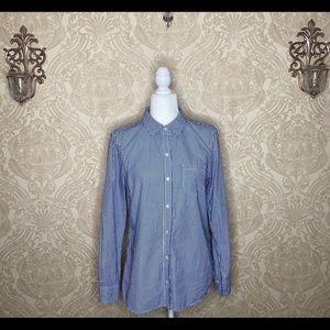 Gap Striped Long Sleeve Button Down Collared Shirt